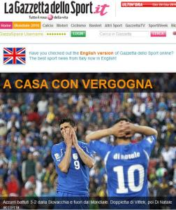 A casa con vergüenza, titular de la Gazzetta dello Sport